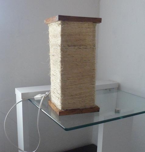 abajur tipo lustre mesa rustico de corda artesanal