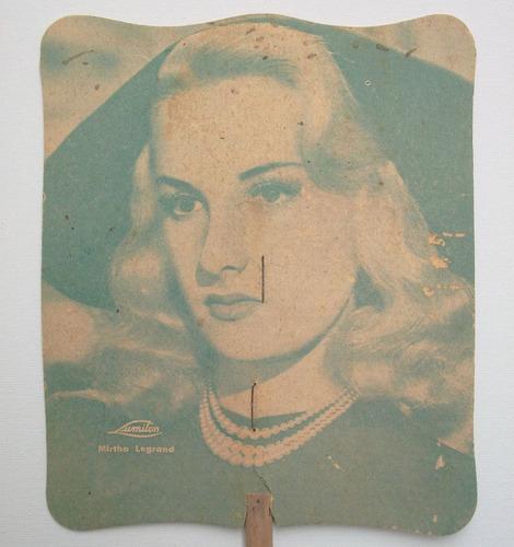 abanico antiguo de cartón mirtha legrand