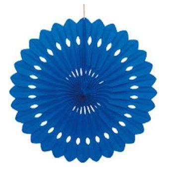 abanico decorativo de papel fiesta - azul royal 16