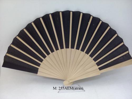 abanico español varilla madera tela lisa.(pieza)