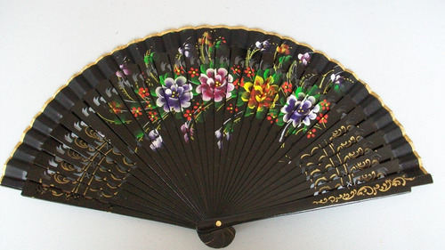 abanicos de madera pintado a mano españoles excelente diseño