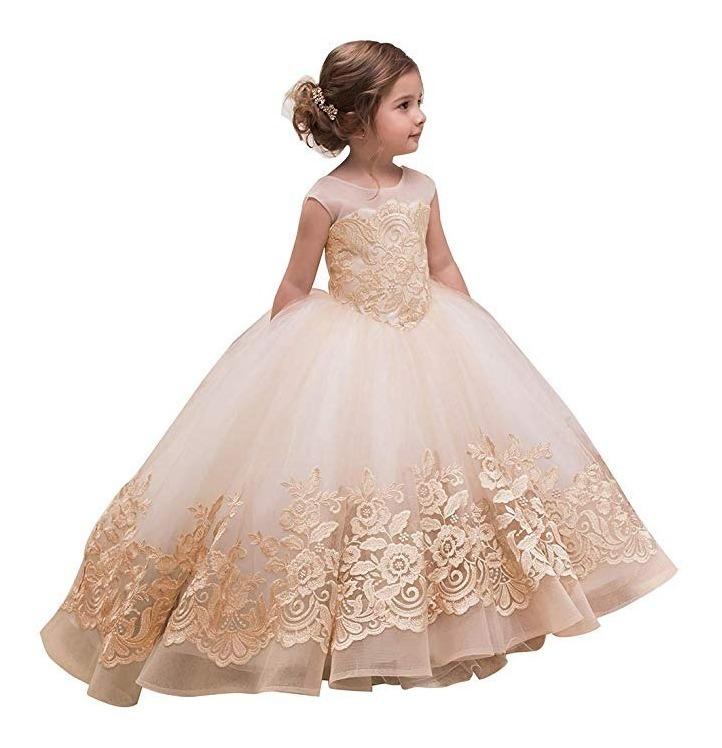 Abaosisters Vestido Para Niñas Elegante Fiesta Boda Rose Gol