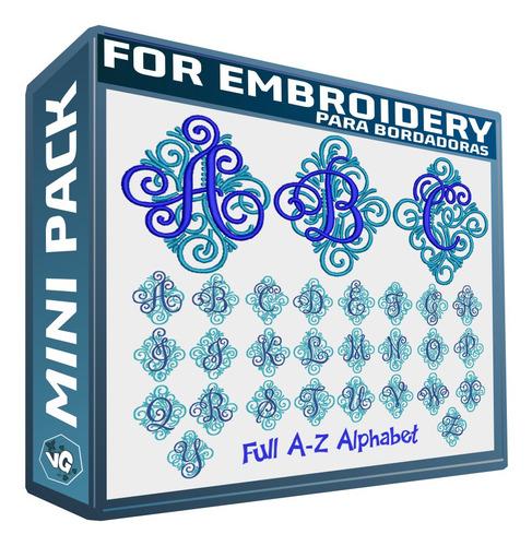 abc monograma ornamento set de diseños bordadoras