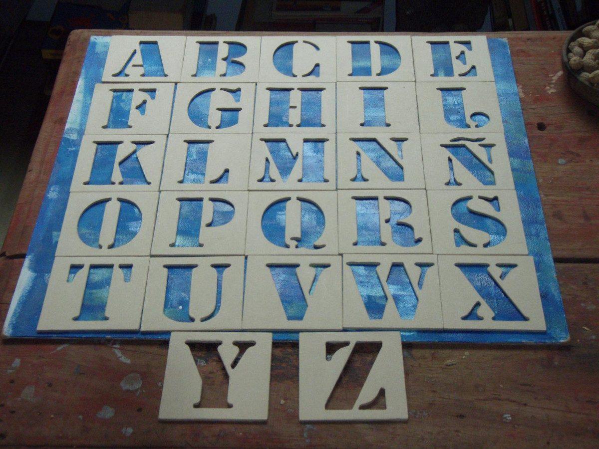 Abecedario Completo Stencil Letras Letreros Carteles Nombre ...