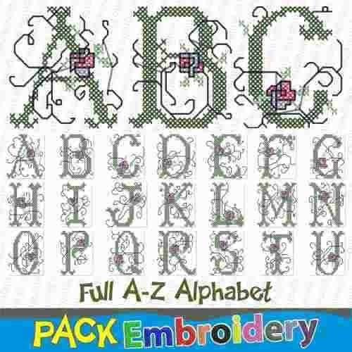 abecedario punto cruz flores adornado bordadora matriz