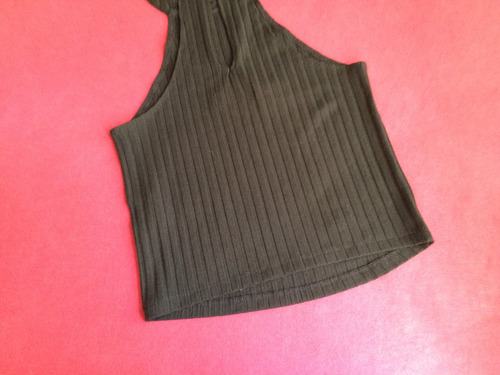 abercrombie blusa crop top mujer talla small negro