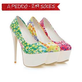 Abfa Aguja Shop Pedido Zapatos Plataforma Taco A Floreados EI2DH9W