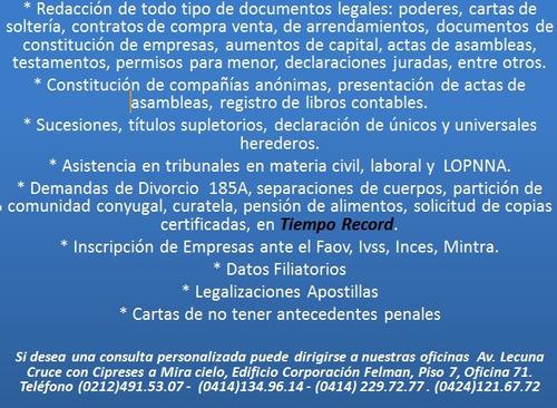 abogado divorcio  poder compañias registro mercanti