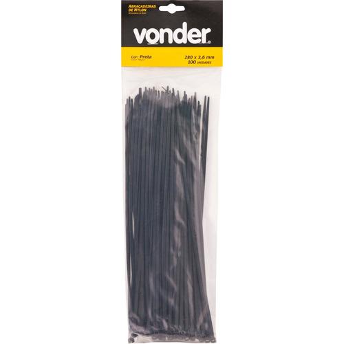 abraçadeira de nylon 140x3,6mm preta com 20 peças - vonder