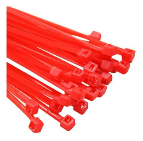 abraçadeira nylon 2,5x200 vermelho c/100