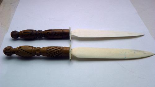 abrecartas tallado a mano sobre hueso y madera, fina artesan
