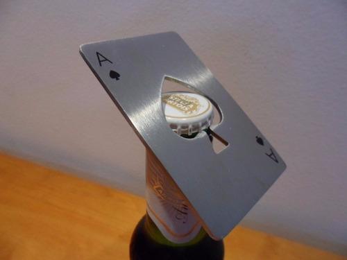 abridor de garrafa carta baralho / poker em inox cerveja