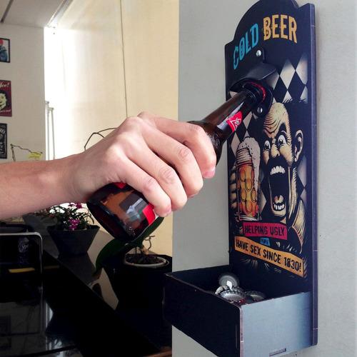 abridor de garrafas parede mdf cold beer heineken cerveja