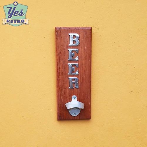 abridor garrafa parede madeira e alumínio área gourmet lazer