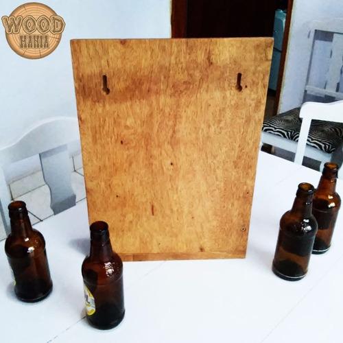 abridor garrafa parede mesa madeira metal área gourmet lazer