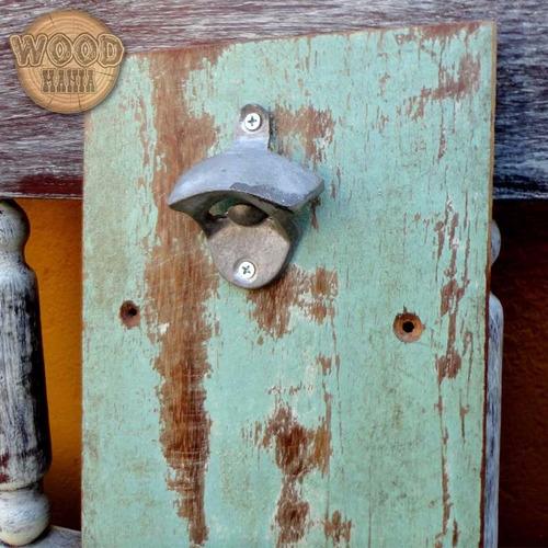 abridor garrafa rústic madeira demolição área gourmet lazer