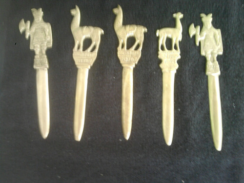 abridores de cartas e garrafas com motivos peruanos em bronz