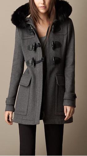 abrigo burberry no lv o mk impecable fur zorro talla l