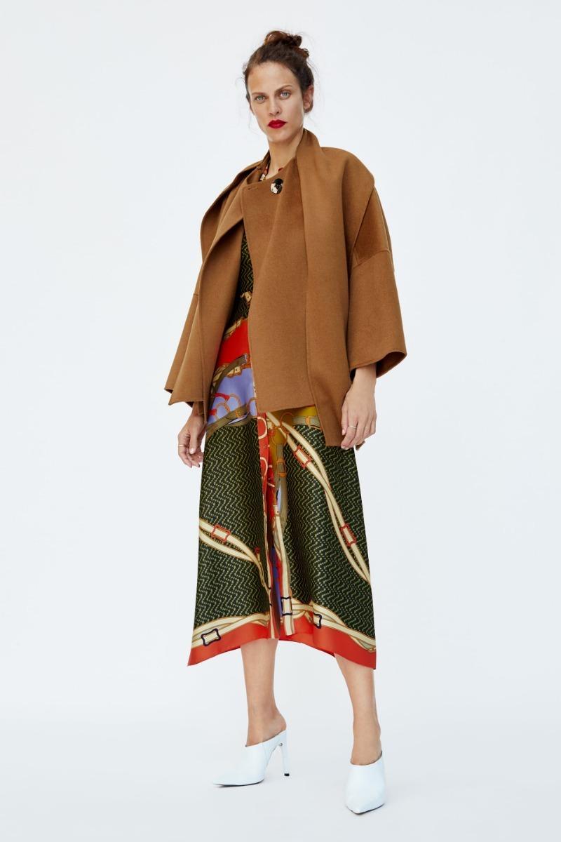f0caea384f461 abrigo capa bufanda marrón dama zara. Cargando zoom.