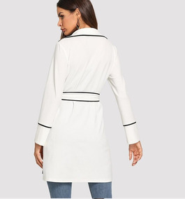 comprar popular c689e 386f0 Abrigo Casual Fresco Dama Mujer Blanco Detalles Negro Nuevo