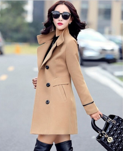 abrigo chamarra mujer lana coreana botones entrega inmediata