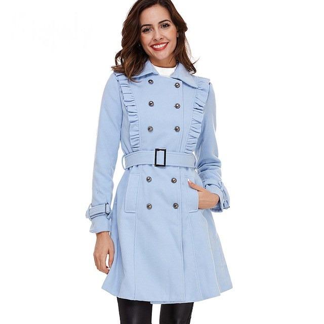 marca famosa baratas para la venta modelos de gran variedad Abrigo Color Azul Celeste Dama