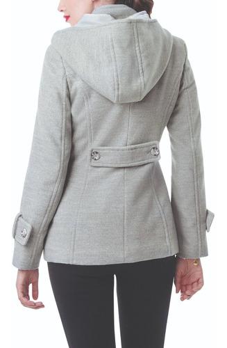 abrigo corto gris para dama con capucha incluida y bolsas