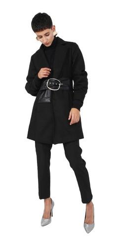 abrigo corto mujer manga fruncida color negro lob