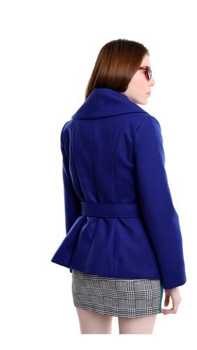 abrigo corto mujer solapa amplia color azul lob