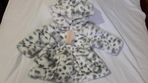 abrigo de niña firts impressions 3-6 meses blanco con gris
