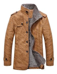 linda descuento especial de suave y ligero Abrigo Epaulet Con Cuello Mao Y Botonadura Sencilla P/hombre