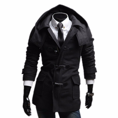 abrigo grueso slim fit con gorro hoodie moda japonesa envio
