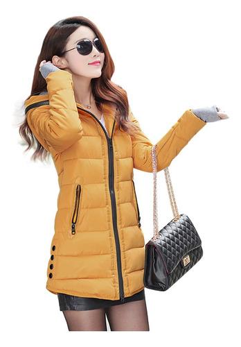 abrigo largo mujer con relleno de plumón de pato y capucha