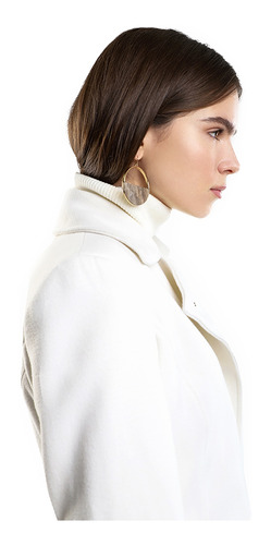 abrigo largo mujer cruzado color hueso lob