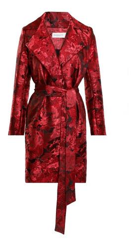 abrigo largo mujer tipo gabardina estampado color rojo lob