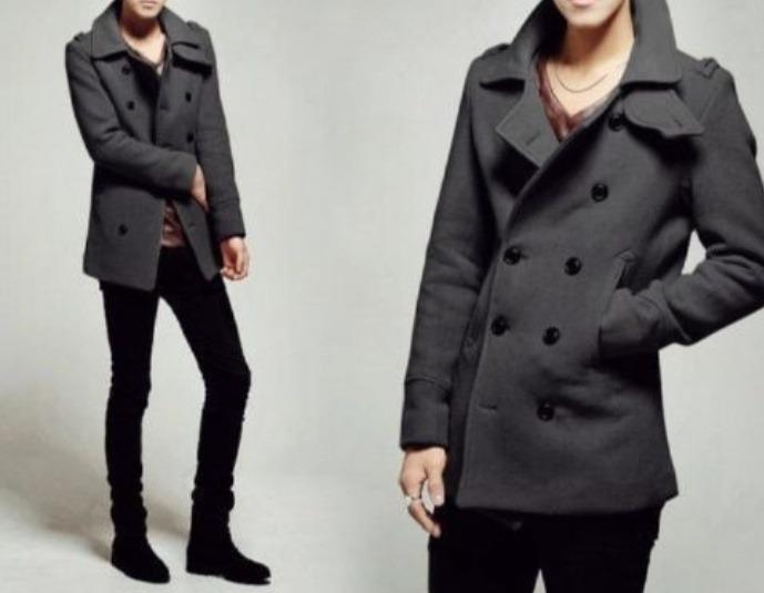 el más nuevo db48e efbc2 Abrigo Negro O Gris Slim Fit Hombre Tallas S Y M
