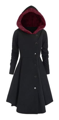 abrigo para mujer con capucha y falda asimétrica l-4xl