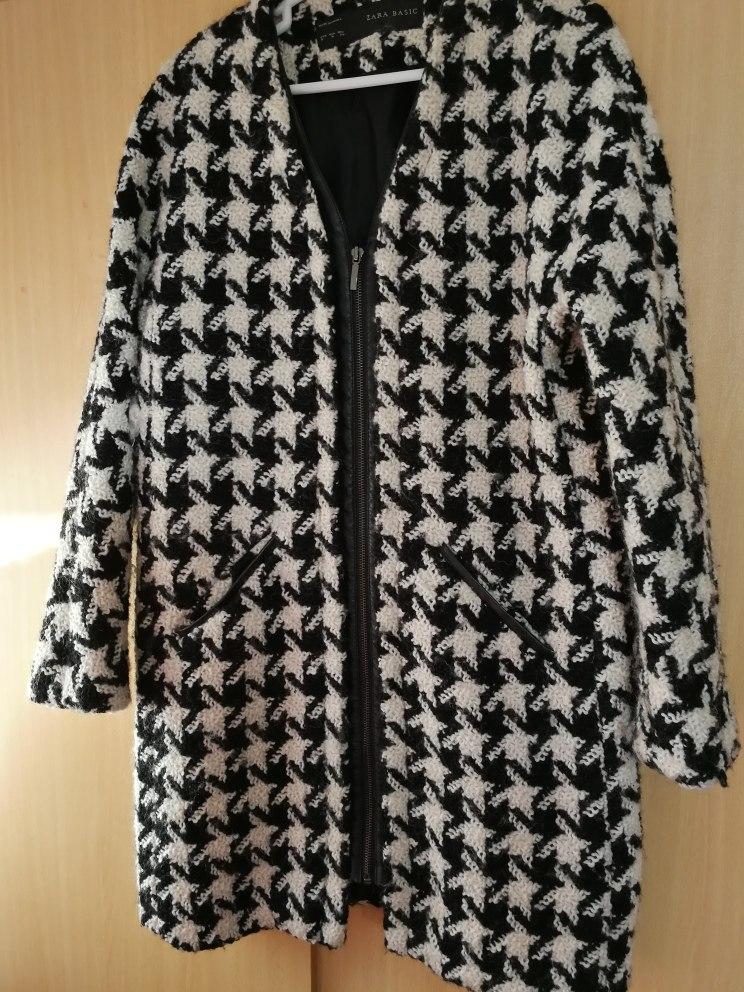 Negro Blanco Zara S Y Cuero Saco Abrigo M Lana Sieteshop Nuevo xwtpnxAFq
