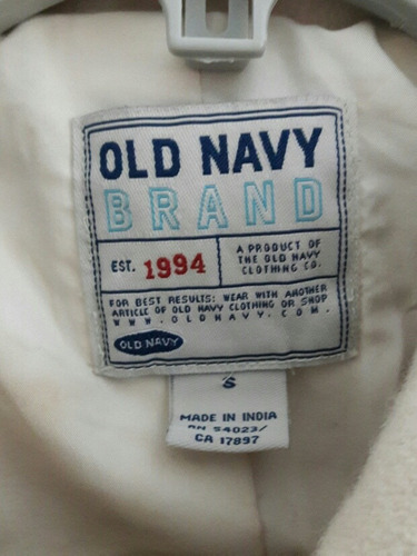 abrigo tipo militar marca old navy talla xs blanco invier