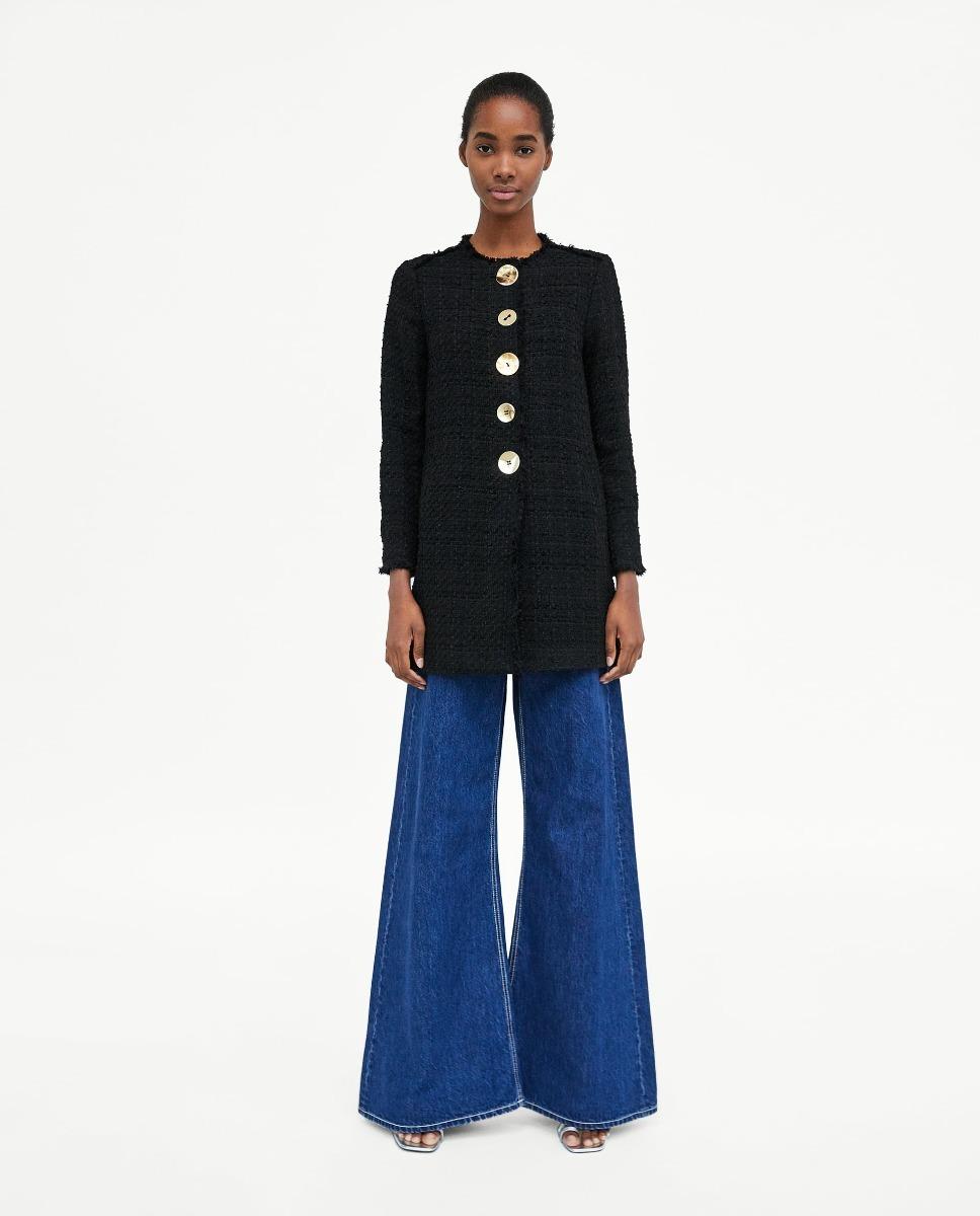 nuevo producto 68211 08c4f Abrigo Tweed Botones Negro Dama Zara