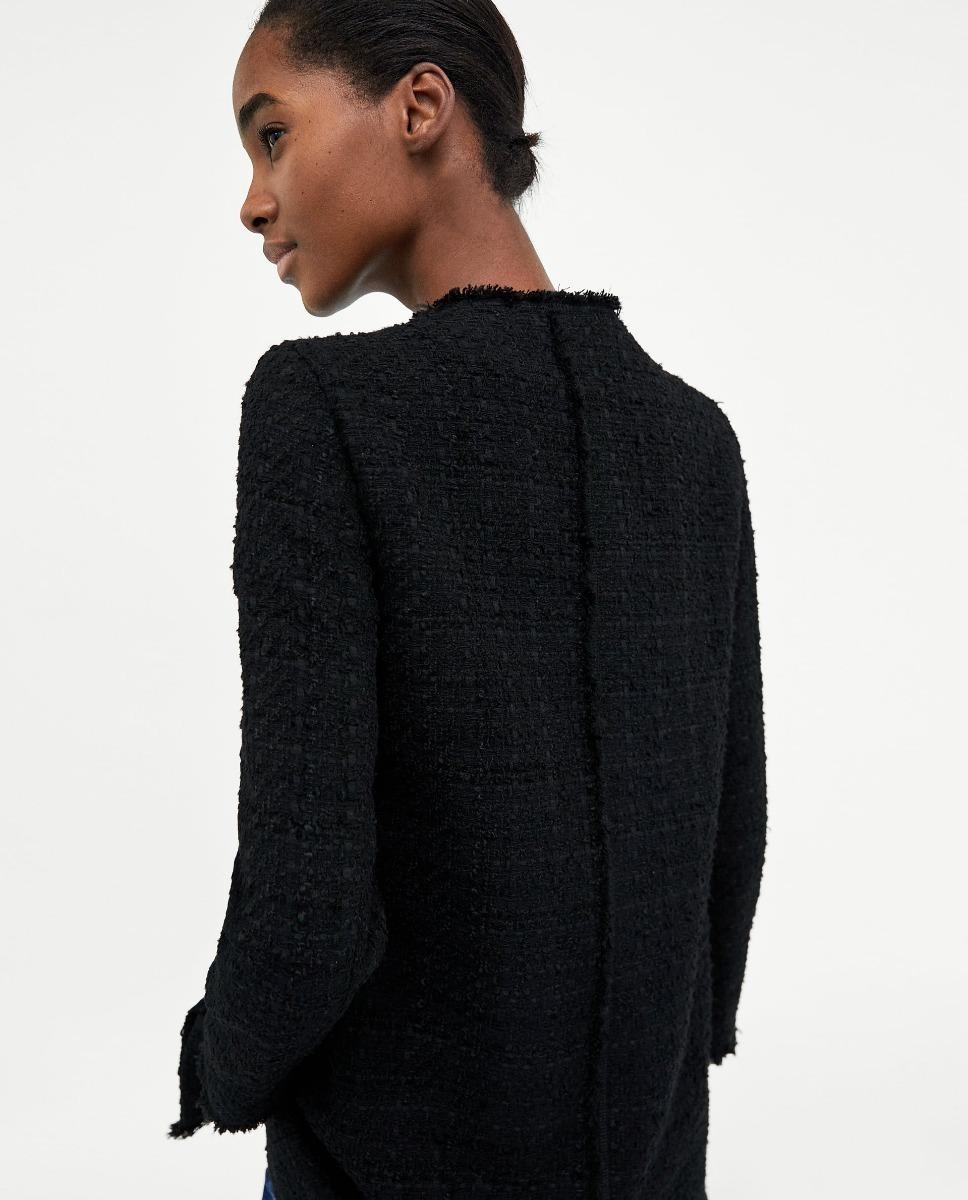 nuevo producto 72cf5 37b06 Abrigo Tweed Botones Negro Dama Zara