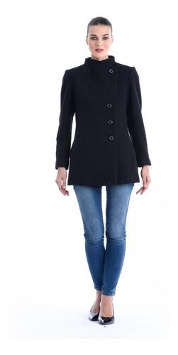 abrigo yuna asimetrico saco dama mujer negro shyla
