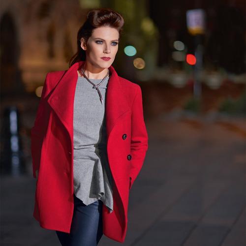 abrigo yuna asimetrico saco dama mujer rojo shyla