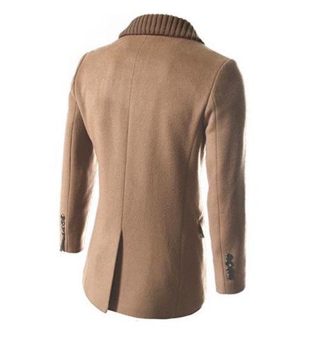 abrigos hombre elegantes largos slim fit moda doble botones
