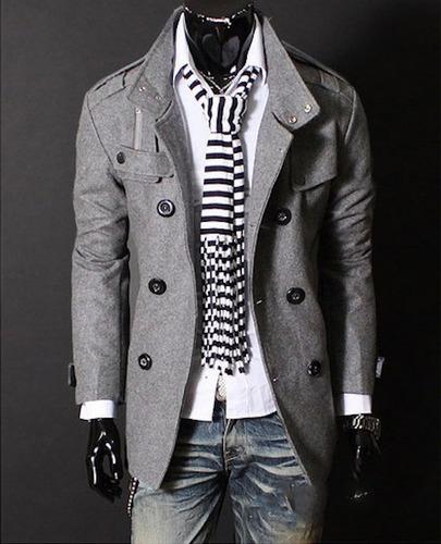 abrigos hombre japoneses largos slim fit estilo elegante ink