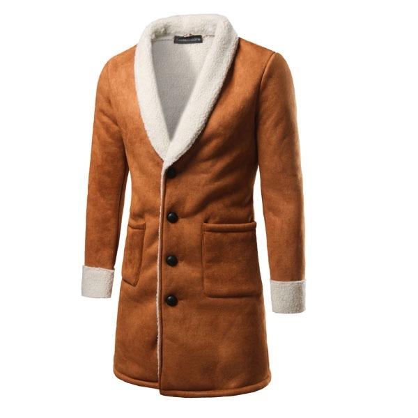 c5e63fe12c572 Abrigos Largos Hombre Slim Fit Moda Elegante Tipo Aborregado - U S ...