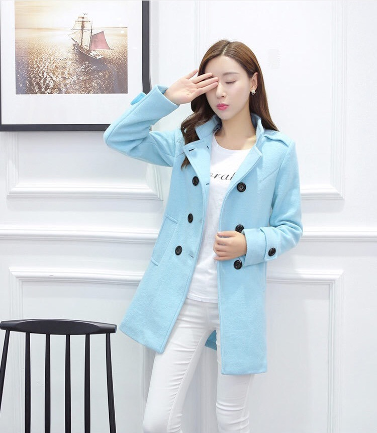 4d1024684d697 abrigos mujer formal corto doble botón juvenil moda asiática. Cargando zoom.