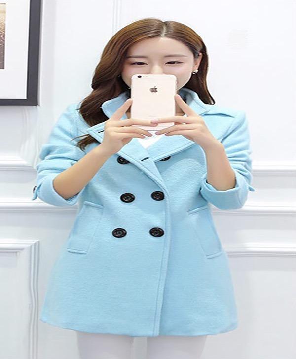 d948d5fda05ea Abrigos Mujer Formal Corto Doble Botón Juvenil Moda Asiática - U S ...