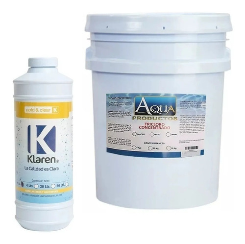abrillantador gold & clear 1 lts+ tricloro polvo 5kg alberca