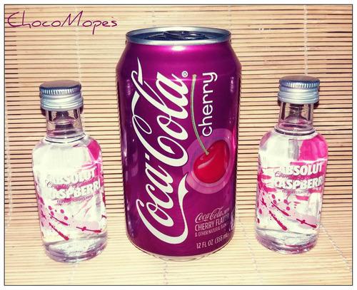absolut raspberri + coca cola cherry